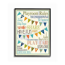 Stupell Home Decor Playroom Rules Pennant Framed Wall Art