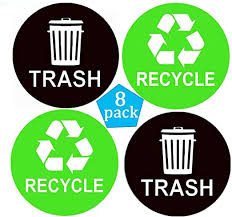 Amazon Com Pop Resin Recycle Sticker Sign Trash Decal Bin Label 8 Pack 4 X4 Waterproof Organize Coordinate Garbage Waste From Recycling Great For Metal Aluminum Steel Or Plastic Trash Cans Indoor Outdoor Home Kitchen