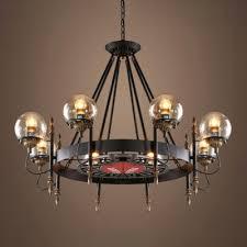 black wagon wheel chandelier with modo