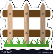 Cartoon Wooden Fence Garden Image Royalty Free Vector Image