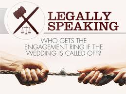 legally speaking who gets the engagement ring if the wedding is