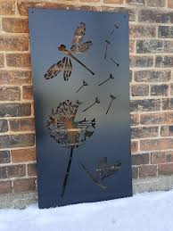 Dragonfly Dandelion Metal Privacy Screen Decorative Panel Etsy In 2020 Fence Art Fence Decor Garden Fence Art
