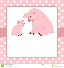 Vector Card Template With Cute Pigs And Polka Dot Background Stock