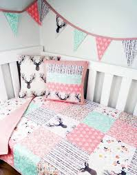 deer baby crib bedding in pink and mint