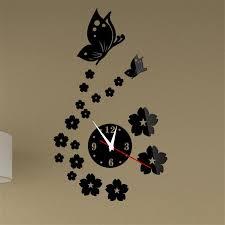 erfly flowers 3d wall clock mirror