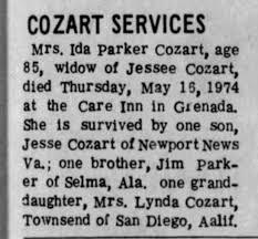 Obit-Ida Parker Cozart - Newspapers.com