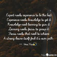 expert needs experience t quotes writings by umavani