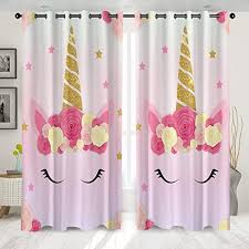 Amazon Com Yourall Unicorn Living Room Curtains Cartoon Print Curtain For Kids Bedroom Girls Floral Rainbow Window Treatment Drapes 2 Panel Set W132 X L 274cm 01 Home Kitchen