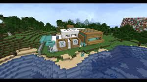 minecraft maison moderne en bord de