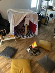 Mum Creates Incredible Campfire Movie Night For Kids In Living Room With Cute Tent Marshmallows And Starry Ceiling