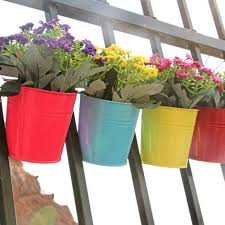 Resin Flowers Pot Wall Fence Hanging Balcony Garden Patio Planter Hanger Decor