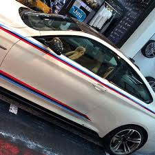 1 Set Tricolor Stripes Performance Car Waist Lines Sticker Door Side Decal For Bmw M Sport F20 F30 F10 F23 F45 F34 F80 E90 Car Stickers Aliexpress