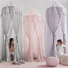 Fashion Nordic Style Kids Dome Tassel Mosquito Nets Curtain Round Crib Netting Baby 4 Door Tent Girl Princess Elegant Bedding Child Room Decoration Wish