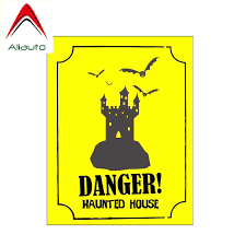 Aliauto Warning Car Sticker Danger Haunted House Creative Decals Pvc Funny Accessories Vinyl 13cm 10cm Car Stickers Aliexpress
