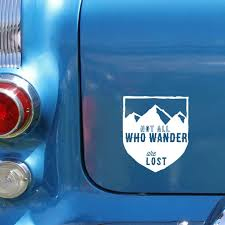 Whimsical Hand Drawn Not All Who Wander Are Lost Car Decal Car Decals How To Draw Hands Car