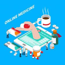 Free Vector | Online medicine isometric composition