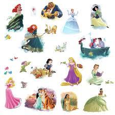 Disney Princess Dream Big Wall Decals 22 Cinderella Rapunzel Belle Stickers New Walmart Com Walmart Com