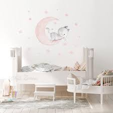 Fabric Wall Decal Cat And Moon Nursery Wall Decal Watercolor Decals Kittens Nursery Art Cat Wall Decals Moon Wall Decal Aida Zamora In 2020 Baby Room Wall Nursery Wall Decals Fabric