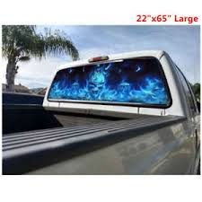 Flaming Skull Rear Window Tint Graphic Decal Wrap Back Truck Tailgate 22 X65 Ebay