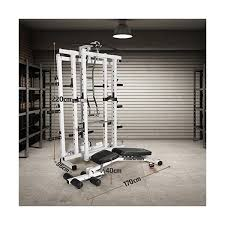 Marcy Pro Folding Power Cage Home Gym With Weight Bench White One Size Fitnessfare
