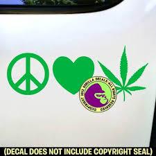 Peace Love Marijuana Vinyl Decal Sticker Gorilla Decals
