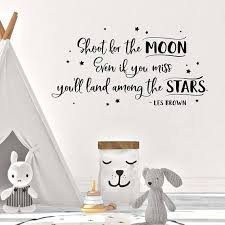 Shoot For The Moon Wall Decal Kids Room Decor Childrens Decor Playroom Wall Decor Vinyl Sticker Moon Wall Decal Kids Wall Decals Kids Room Wall Decals