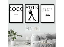 Buy Fashion Set Of 3 Black Coco Chanel Quote Prada Style Sketch Wall Art Print Fat Llama