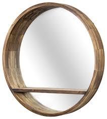round wooden wall mirror with storage