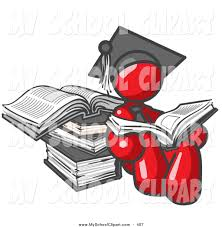 clip art of a red male student sitting