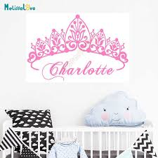 Eco Friendly Baby Girl Crown Wall Sticker Custom Name Decals Wall Sticker Kids Room Girl Bedroom Wall Art Decoration Vinilo B864 Wall Stickers Aliexpress