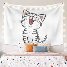 Amazon Com Leowefowas Room Decoration Cartoon Laughing Cat Tapestry Wall Hanging Cute Animal Wall Tapestry For Baby Kids Room Living Room Bedroom Wall Art Home Decor 59 1 X35 4 Home Kitchen