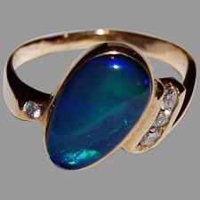 black opal ring 14k gold diamonds