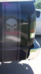Pair Printed Carbon Fiber Punisher Skull Truck Bed Stripe Decals