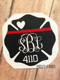 Firefighter Wife Monogram With Badge Number Vinyl Decal Maltese Cross Fire Wife Decal Car Decal Yeti Decal Monog Monogram Decal Fire Wife Firefighter Wife
