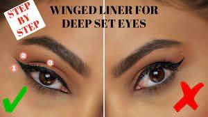 winged eyeliner for deep set hooded