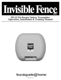 Ifa 12 Pet Keeper Indoor Transmitter Operation Installation Manualzz