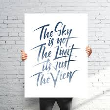 hand lettering print the sky is not the limit bjorn berglund