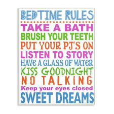 The Kids Room By Stupell 13 In X 19 In Multi Colored Bedtime Rules Typography By Marilu Windvand Printed Wood Wall Art Brp 2213 Wd 13x19 The Home Depot