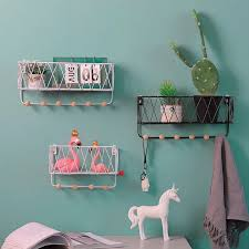 Iron Wall Shelf With Hook Storage Box Holders Diy Flower Pots Book Rack Organization Kitchen Bedroom Kid Room Decoration Shelves Storage Holders Racks Aliexpress
