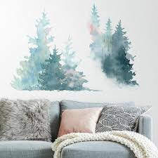 Watercolor Pine Tree Giant Wall Decals In 2020 Mountain Wall Decal Mountain Decal Wall Decals