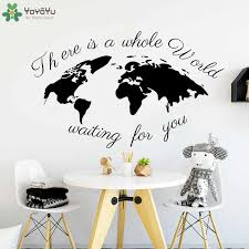 Creative World Map Wall Decal Quotes There S The Whole World Waiting For You Nursery Room Wall Stickers Gifts For Kids Diy Sy364 World Map Wall Decal Wall Decals Quoteswall Decals Aliexpress
