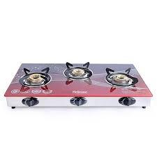 glass red 3 burner gas stove