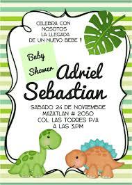 Hermosa Invitacion Para Baby Shower Tema Dinosaurios