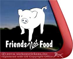 Friends Not Food Cute Pig Decals Stickers Nickerstickers