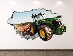 Amazon Com West Mountain Green Tractor Wall Decal Art Decor 3d Smashed Truck Sticker Poster Kids Room Mural Custom Gift Bl189 50 W X 30 H Home Kitchen