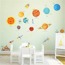 Cartoon Solar System Wall Stickers For Kids Rooms Home Decor Outer Space Planets Wall Decals Boy Baby Room Decorative Stickers Wall Stickers Aliexpress