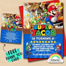 Super Mario Bros Party Cumpleanos De Super Mario Invitan A Fiesta De Mario Bros Invitaciones De Mario Bros Fiesta De Mario