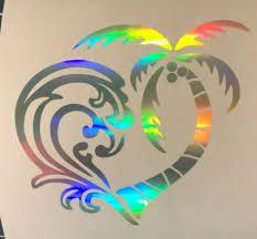 Holographic Ocean Palm Tree Heart Vinyl Car Window Decal Sticker Home Glass Door Ebay