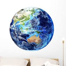 Amazon Com 3d Rendering Planet Earth Wall Decal By Wallmonkeys Peel And Stick Graphic 36 In W X 36 In H Wm172134 Home Kitchen