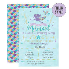 Mermaid Cumpleanos Invitaciones 20 Fill En Mermaid Invit S 206